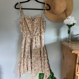 J.O.A Beige Floral Ruffle Dress